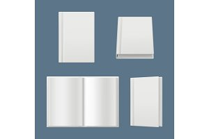 Books mockup. Clean white pages of