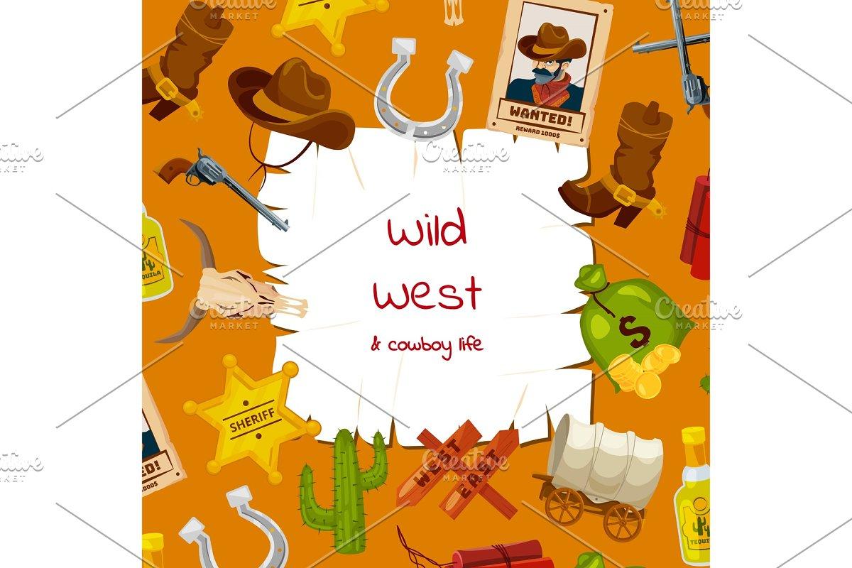 ce2dc239d37 Vector cartoon wild west elements ~ Graphics ~ Creative Market
