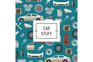 Vector set of car parts background