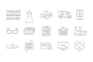 E-store icons. Web online shopping