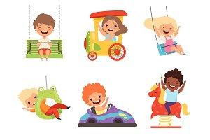 Children amusement park. Happy kids
