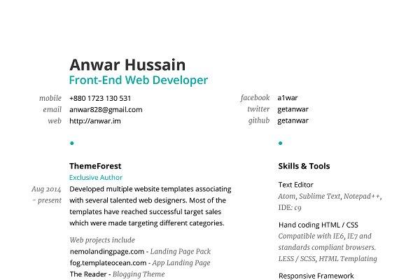 Clean Resume Template PSD ~ Resume Templates ~ Creative Market