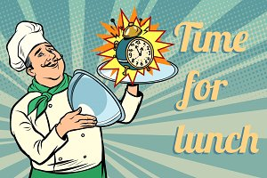 clock. time for lunch. chef with