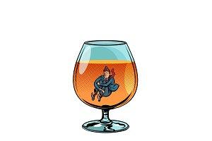 drunkard in brandy glass