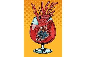 drunkard wine, man in a glass of