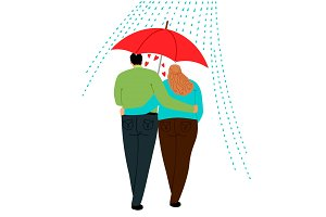 Couple in love under umbrella