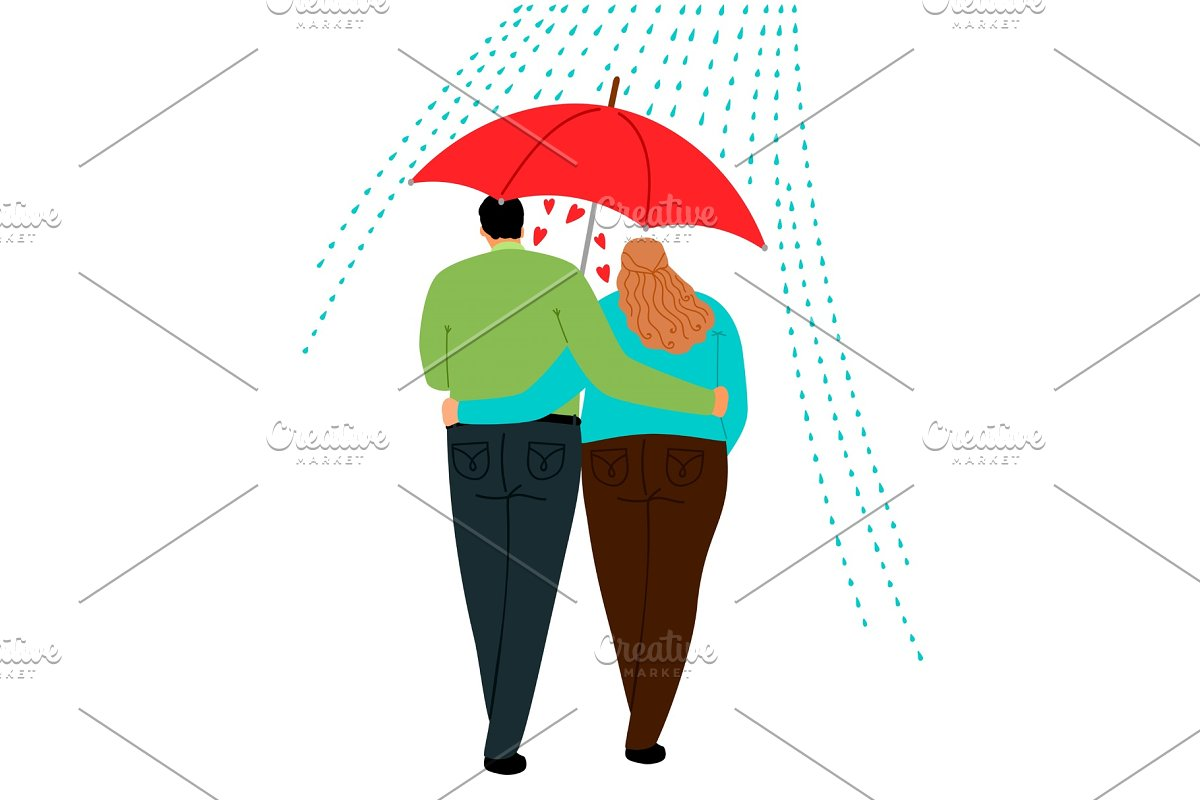 Couple In Love Under Umbrella Illustrations Creative Market