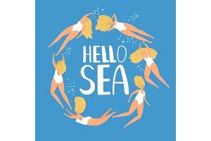 Hello sea summer poster