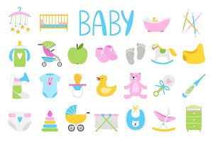 Cartoon baby icon set