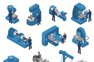 Machine tools with workers set