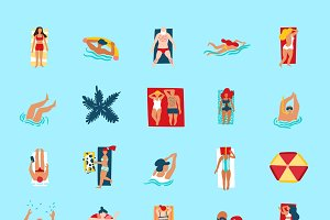 People on beach funny flat icons