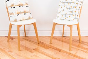 Stylish chairs with cushions