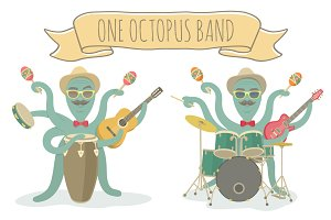 Octopus Character Plays Music