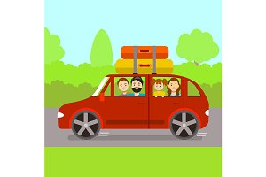 Family Journey by Car. Vector