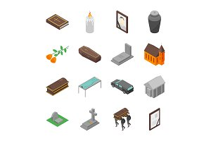 Funeral Signs 3d Set Isometric View.