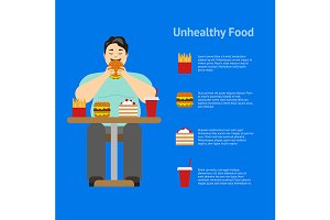Cartoon Man Eating Fast Food Card