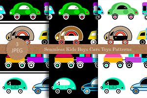 Seamless kids boys cars toys pattern