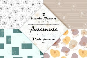 Anemone - 5 Seamless Patterns