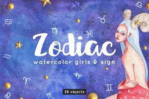 Zodiac Watercolor Girls Illustration