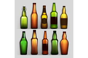 Beer Bottles Set Vector. Different