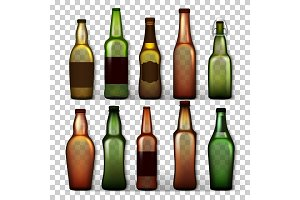 Transparent Beer Bottles Set Vector
