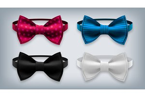Bow Tie Set Vector. Realistic Knot