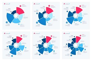 Set of pie chart concepts. Vector