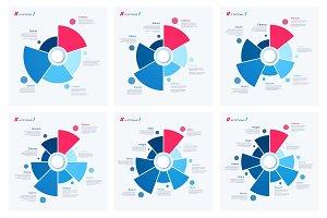Set of pie chart concepts. Vector