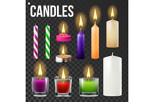 Candles Set Vector. Different Types