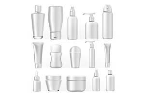 Cosmetic Bottles Set Vector. Empty
