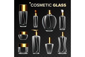 Cosmetic Glass Set Vector. Empty