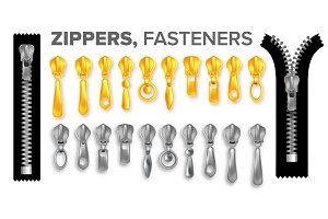 Zipper Set Vector. Gold And Silver