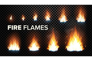 Fire Flames Set Vector. Different