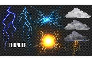 Thunder, Lightnigs Set Vector. Bolt