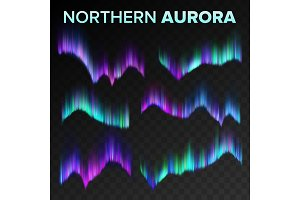 Northern Aurora Set Vector. Polar