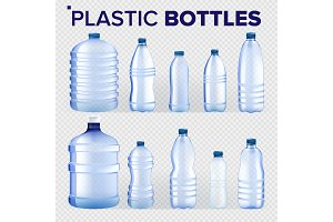 Plastic Bottles Set Vector
