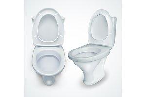Toilet Bowl Vector. White Clean