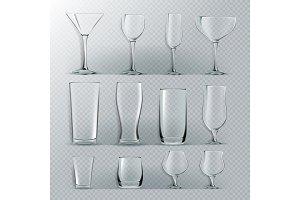 Transparent Glass Set Vector