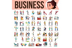 Business People Set Vector. Office