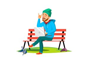 Freelance, Man Sitting On Bench In