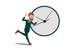 Running Businessman With Huge Clock