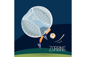 Zorbing illustration. Two man play