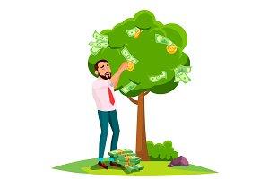 Businessman Pick An Money From A