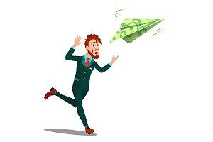 Businessman Running For Money Flying