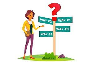 Business Woman Chooses A Path Of