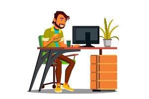 Lunch Break, Employee At The Desk