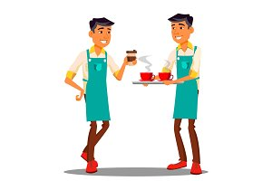 Barista At The Coffee Shop Vector