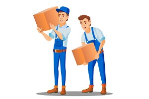 Delivery Worker In Uniform Carries A