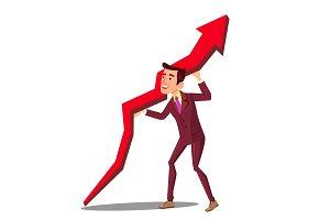 Businessman Raising Arrow Up Graph