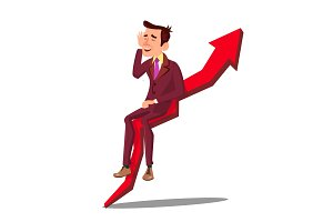 Businessman Sitting On Arrow Graph